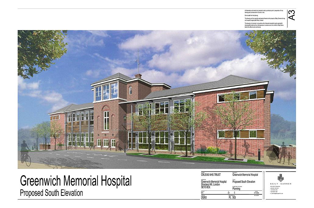 Greenwich Memorial Hospital, Greenwich, London - Planning